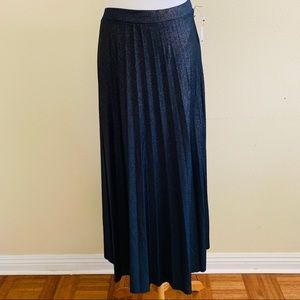 Halogen Pleated Midi Skirt Metallic Festive